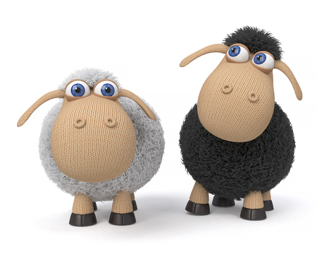3d illustration mutual relation between two sheep Stock Photo