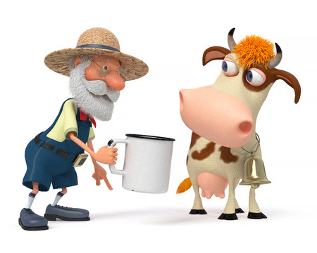 3d illustration the peasant with horned cattle