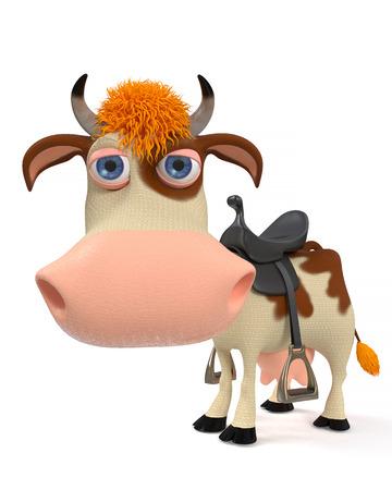 udder: 3d illustration of a horned farm animal prepares for equestrian sport Stock Photo