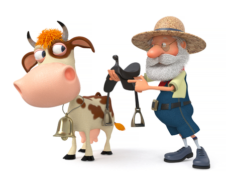 3d illustration the farmer is preparing for horse riding