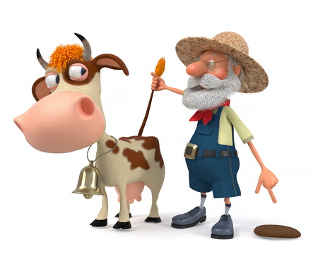 domestication: 3d illustration the peasant with horned cattle