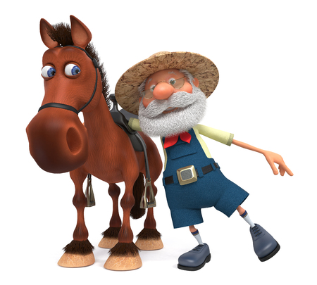 3d illustration grandpa saddling a horse