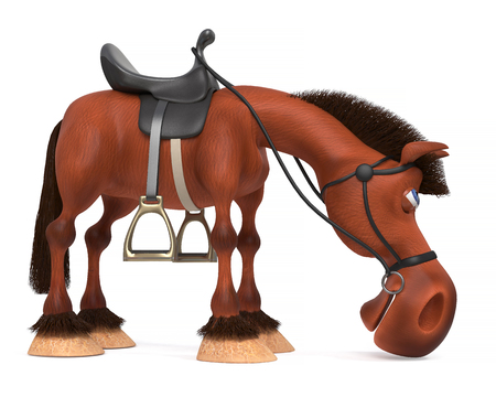 3D illustration of a stallion posing in front of sport jumps with a saddle