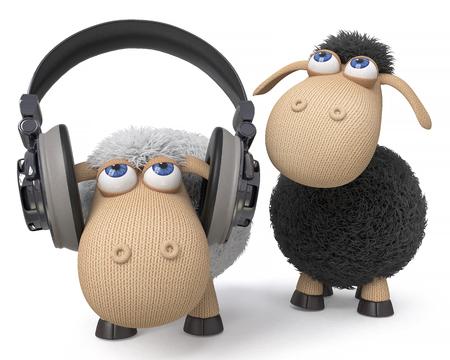 3d illustration farm animals in the headphones