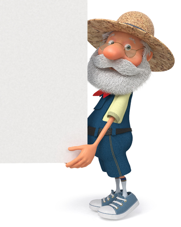 3d illustration an elderly farmer with a big sign Stock fotó