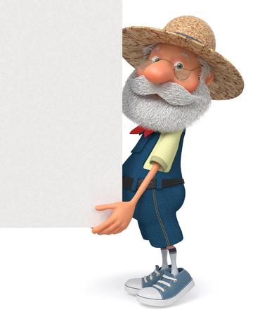 3d ilustración un granjero anciano con una gran señal Foto de archivo - 81557071