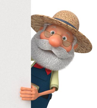 3d illustratie een bejaarde boer met een groot teken