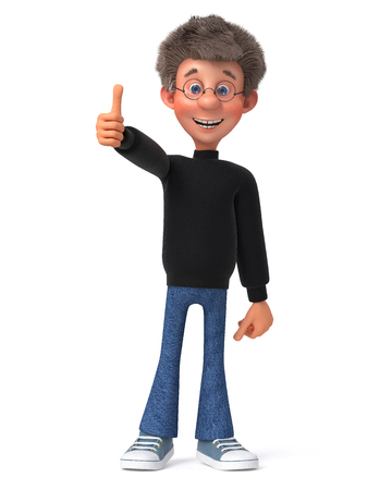3d illustration of the character of a young man in a sweater and jeans