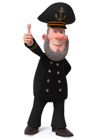 captain cap: 3d illustration happy Navy man in uniform cap