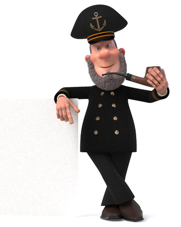 3d illustration happy Navy man in uniform cap with a big sign