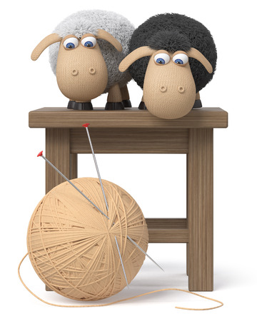 3d illustration knitted sheep with a ball of yarn and knitting