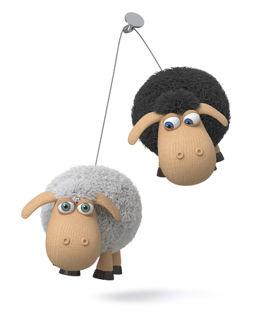 3d illustration knitted sheep to hang on a nail