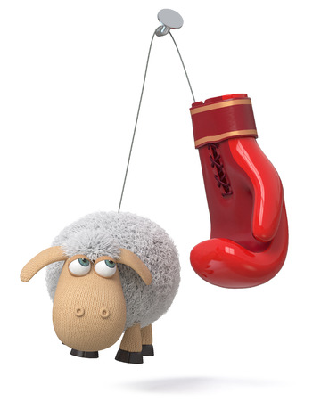 3d illustration sheep with a Boxing glove Stock Photo
