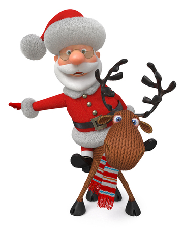 3d illustration Christmas greeting fairy tale characters
