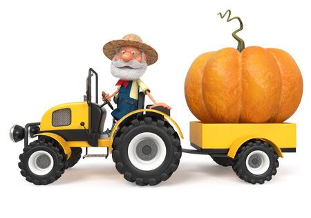 tractor trailer: 3d illustration fantastic large vegetables in the garden