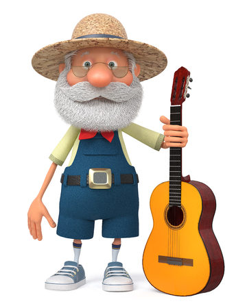 3d illustration merry peasant playing a musical instrument Stock fotó