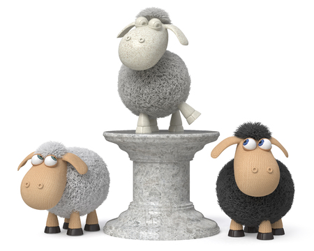 3d illustration monument to the great sheep Stock Photo