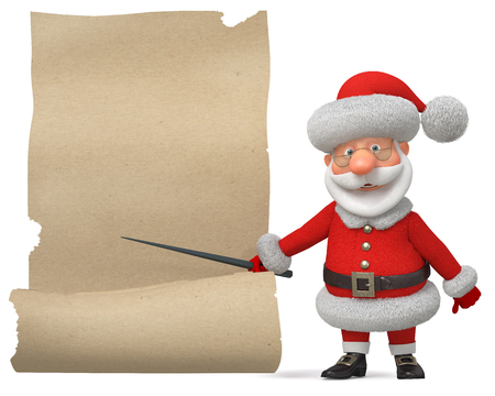 3d illustration New Years congratulation from Santa Claus Stock Photo
