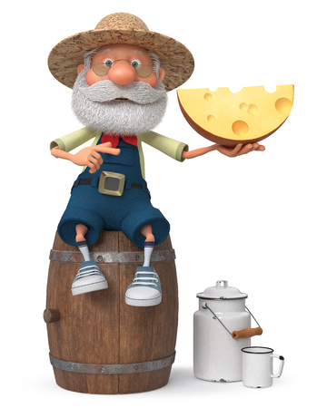 3D illustration of a merry peasant sitting on a barrel and shows off your product