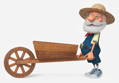3d illustration grandfather engaged in the garden