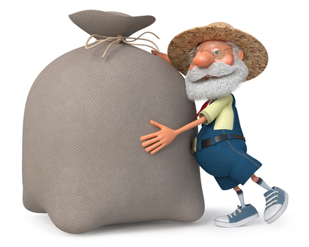 3d illustration grandpa is from the harvest Stock Photo