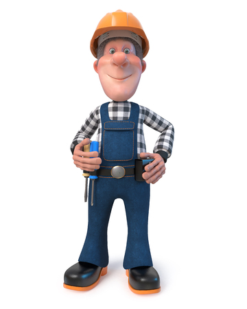 3D illustration funny engineer character Stock Photo