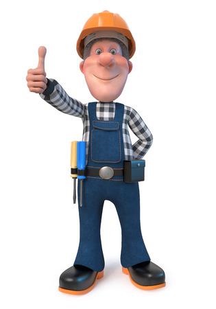 3D illustration funny engineer character Foto de archivo