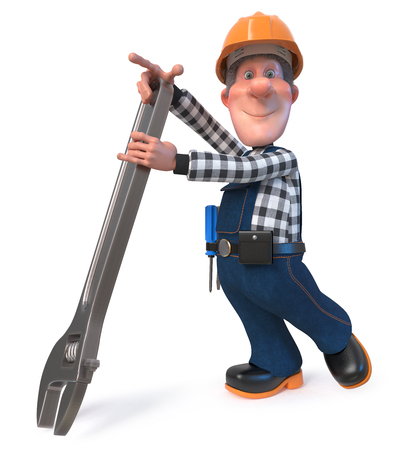 3D illustration of funny engineer plumber character engaged in repair Archivio Fotografico