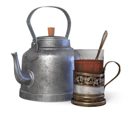 3D illustration iron holder for hot drinks