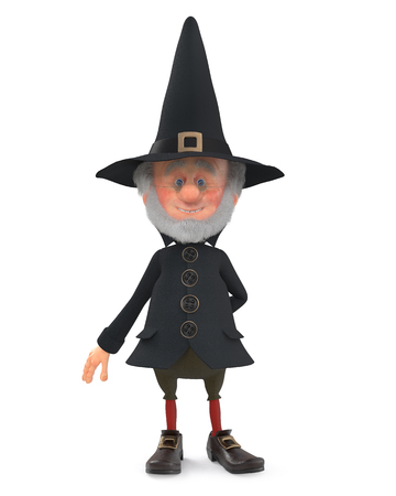 3D illustration an old magician with a gray beard prepares for magic