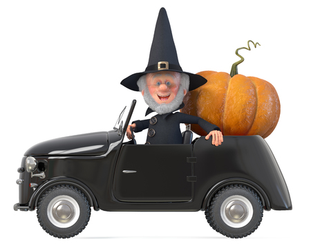 3d illustration funny fairy-tale wizard with a hat on his car Stock Photo