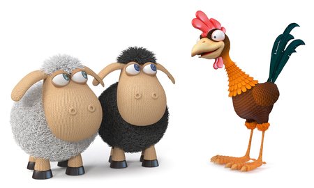 3d illustration relationship between two sheep and a large farm bird with a large crest