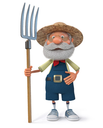 3D illustration grandfather is preparing to harvest hay