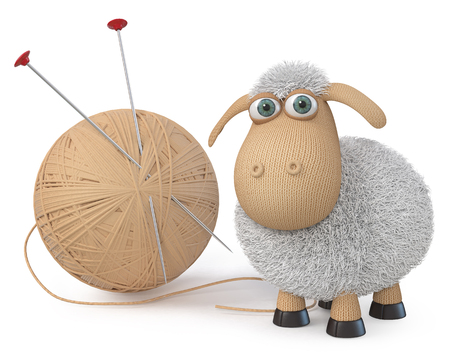 3d illustration Herbivorous and fluffy farm animal with a ball of wool Stock Photo