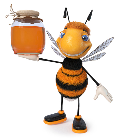3d illustration farmer's insect producing honey Banque d'images