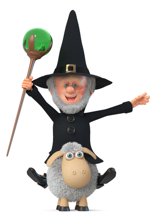 3D illustration an old magician with a gray beard prepares for magic 版權商用圖片 - 104741437