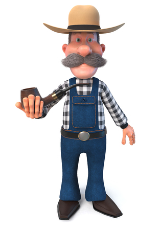 3d illustration man posing in overalls on the farm Stock Photo