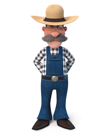 3d illustration man posing in overalls on the farm Imagens