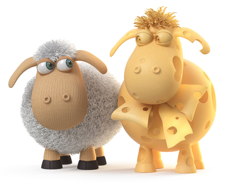 3d illustration mutual relation between two sheep 写真素材