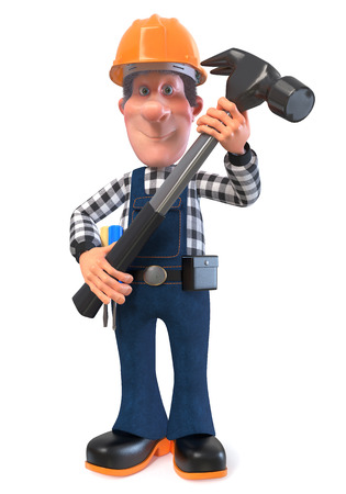 3D illustration of funny engineer plumber character engaged in repair 写真素材