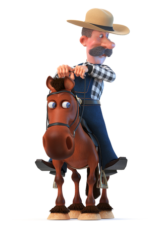 3d illustration cowboy in a hat with a curvy mustache 写真素材