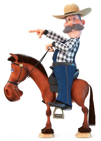 Vaquero de ilustración 3d con un sombrero con un bigote curvilíneo