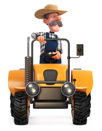 3d illustration cowboy is engaged in harvesting