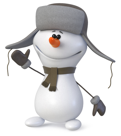 3d Illustration The New Years snow character congratulates all on a holiday