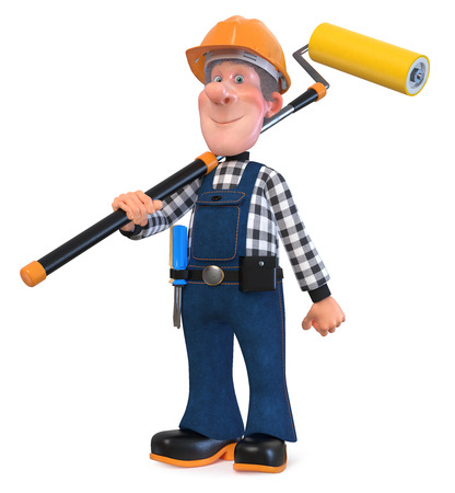 3D illustration of funny engineer character engaged in repair