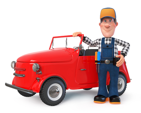 3D illustration of funny engineer character engaged in repair car