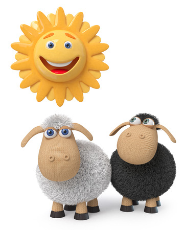 3d illustration two little lambs happily look at the sun