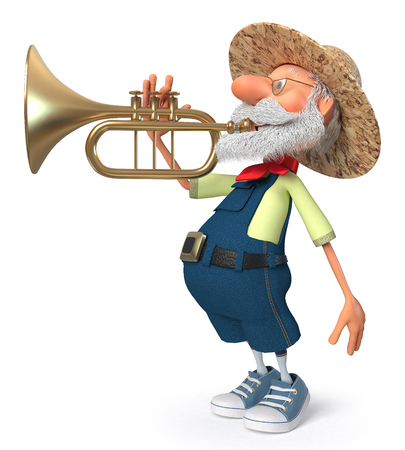 3d illustration an elderly bearded peasant playing a wind instrument 写真素材