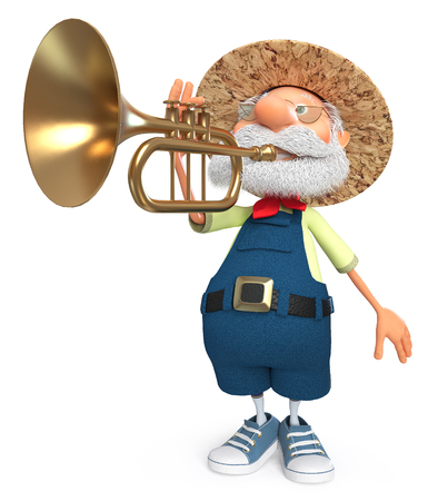 3d illustration an elderly bearded peasant playing a wind instrument Stock Photo