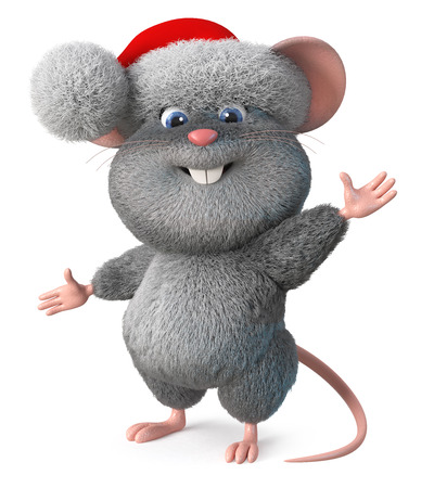 3d illustration Christmas mouse wishes you a happy New year